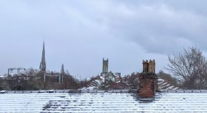 A wintry rooftop scene in Preston over the weekend as the city saw snow and icy weather Pic: Tony Worrall