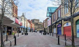 An almost empty Friargate in Preston city centre on Monday 1 February Pic: Tony Worrall