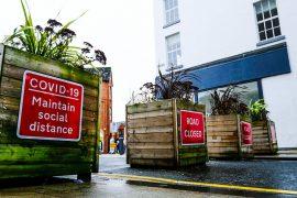 Social distancing signs in Preston city centre Pic: cockerhoop
