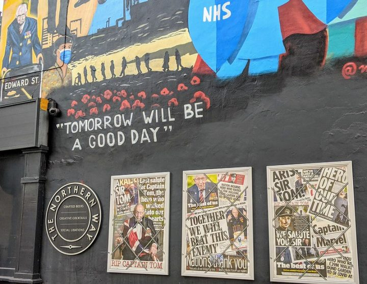 The mural and tribute to Captain Sir Tom Moore at the Northern Way pub in Friargate Pic: Tony Worrall