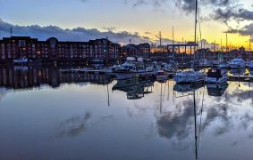 Sunset at Preston Marina on Monday 22 February on the day the Prime Minister announced his lockdown easing roadmap Pic: Tony Worrall