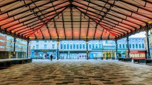An empty Preston Market canopy area in Preston city centre: Tony Worrall