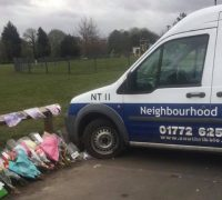 Council van parked over Ben's tribute Pic: Lucie Eaves