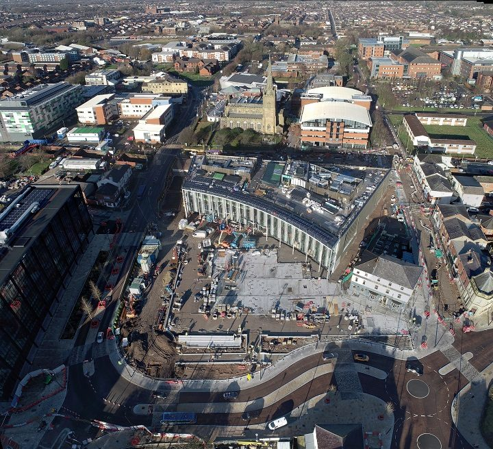 An aerial shot of how the new building at Adelphi Square looks Pic: UCLan