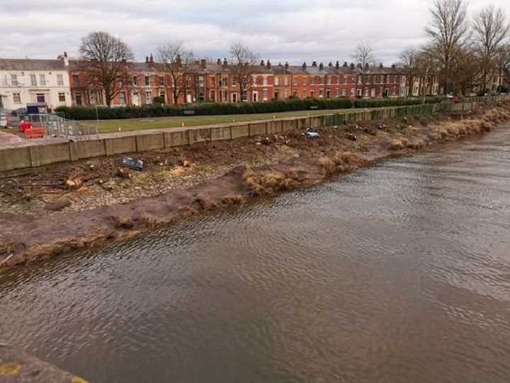 Trees have been cut down at the top end of Broadgate bordering the River Ribble Pic: Chris Hough
