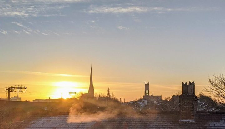 Sunrise over Preston's chilly rooftops Pic: Tony Worrall