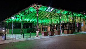 Preston's Market canopy glowing green Pic: Tony Worrall