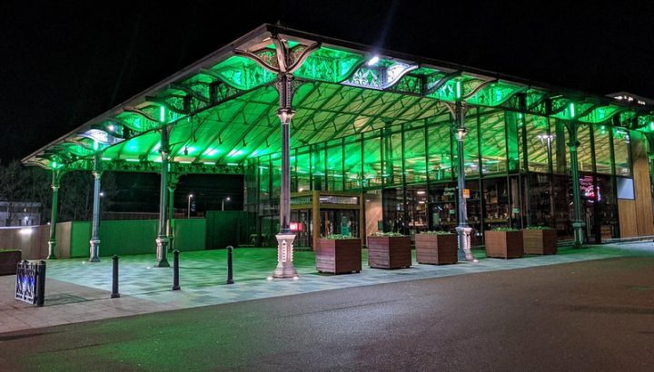 Preston's Market canopy glowing green Pic: Tony Worrall