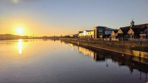 Sun setting over Preston Docks Pic: Tony Worrall