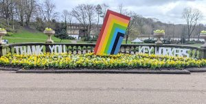A tribute to key workers in Avenham and Miller Park with spring colours Pic: Tony Worrall