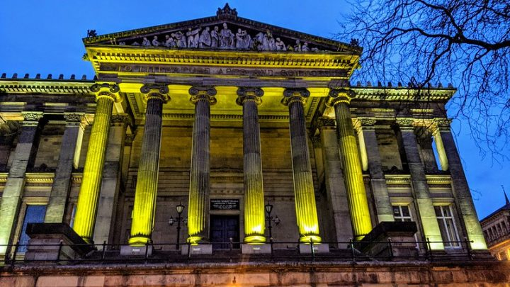 The Harris lit up yellow to remember those who died from Covid Pic: Tony Worrall