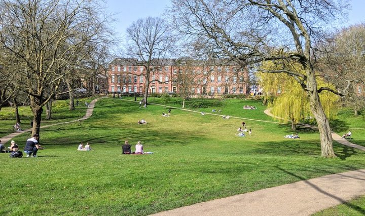 Socially distanced sun seeking in Winckley Square Pic: Tony Worrall