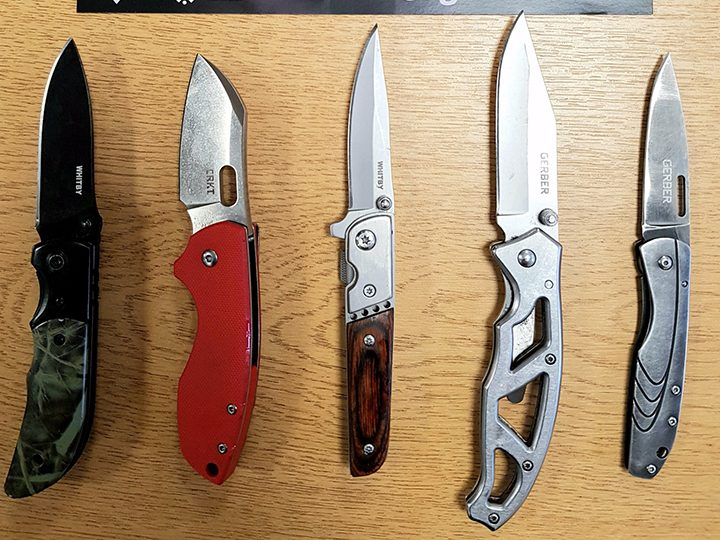 Knives seized from vaccination appointments Pic: Preston police