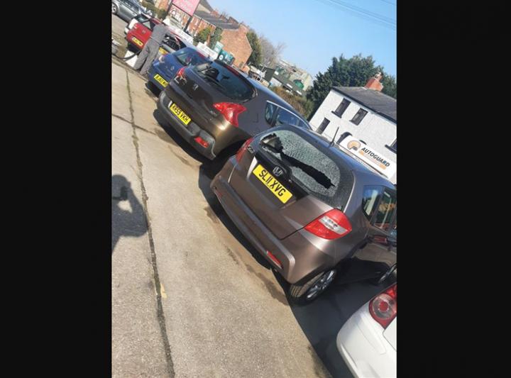Vandalised cars, Walton-le-Dale. Pic: Shane New