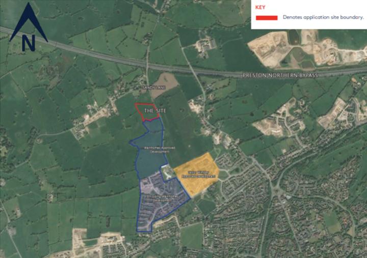 Proposal for dwellings off Sandy Lane, Pic: PCC, Wainhomes