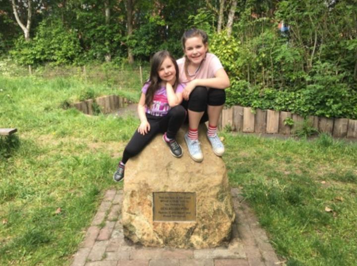 Isobel and Heidi Ashworth, Ben and Louise's children at Ben's memorial