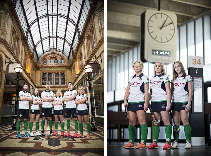 Preston Hockey Club players pose in their Next Goal Wins kit in Miller Arcade (left) and the Bus Station (right) Pic: @simonstacpoole