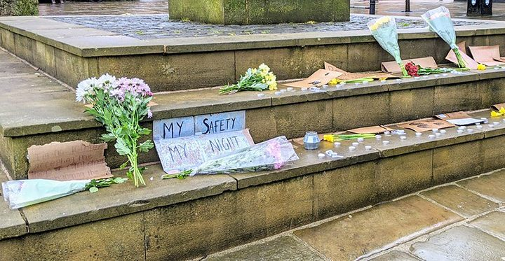 Tributes and signs left from the Sarah Everard vigil Pic: Tony Worrall