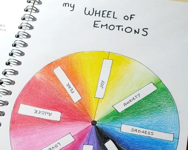 A wheel of emotions drawn by portrait artist Rachel Phoenix.