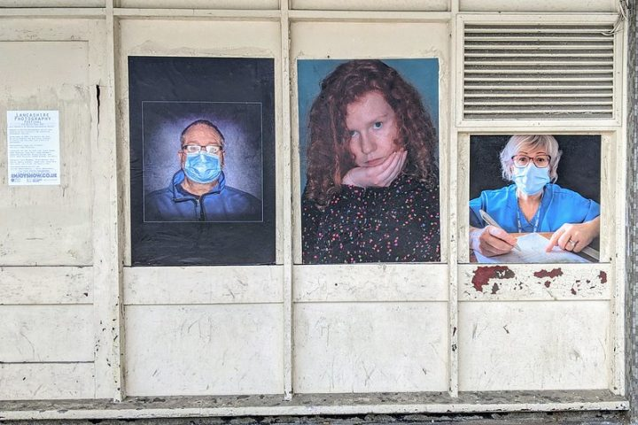 Face masks on display as part of portraits in the Lancashire Photography Festival around Preston's city centre streets Pic: Garry Cook