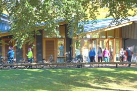 Socially distanced queue for the Avenham Park cafe on a sunny day in Preston Pic: Tony Worrall