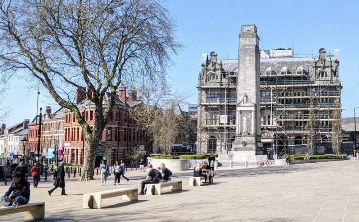 Enjoying the sunshine on the Flag Market on Preston city centre Pic: Tony Worrall