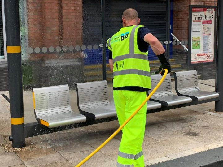 Disinfecting Fishergate bus stop Pic: Preston City Council
