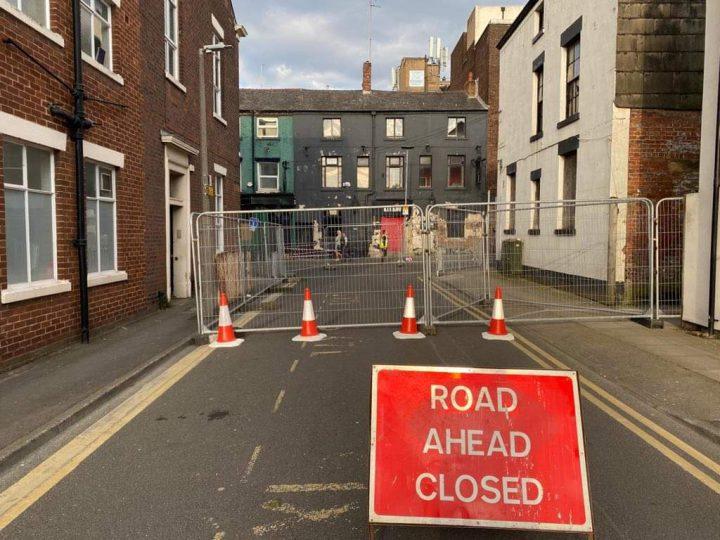 Road closure in St Wilfrids Street Pic: Preston City Council