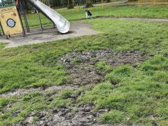 Mud at Haslam Park playground Pic: Bev Best