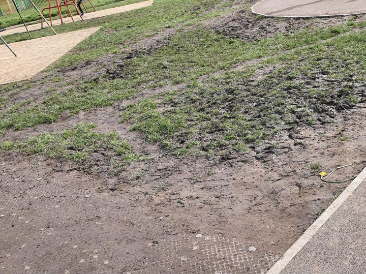 Haslam Park playground muddy ground Pic: Bev Best
