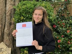 Heather Needham with her letter from Sir David