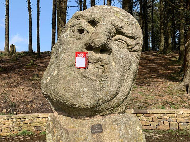 An Easter egg hidden on the Orme Sight sculpture at Beacon Fell