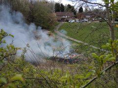 Fire in Brookfield park. Pic: Seán Walker
