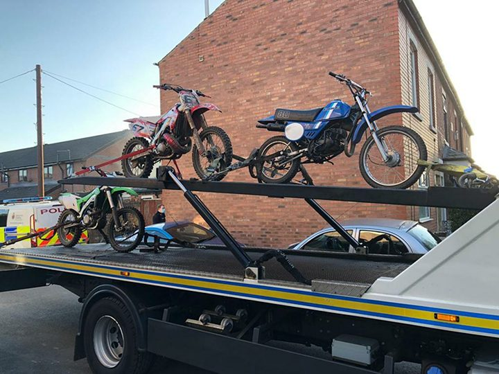 The three off-road bikes seized by officers Pic: Preston Police