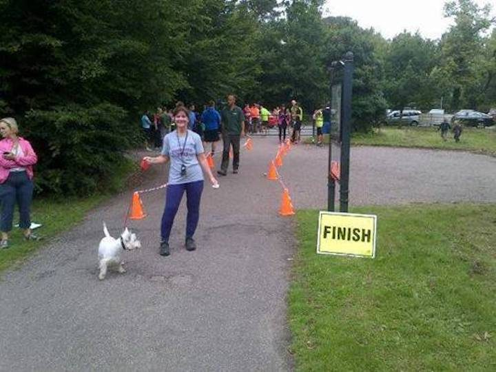 Ramona Mulligan at her very first parkrun with her dog Alfie