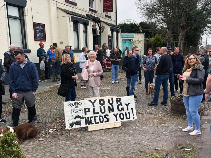 The campaign group met outside The Plunginton Hotel Pic: Allan Plumb