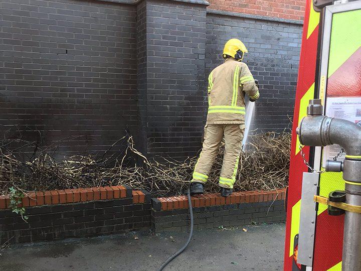 Scrub fire in Preston city centre Pic: @preston_fire