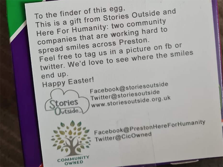 Easter egg note from Stories Outside and Preston Here For Humanity