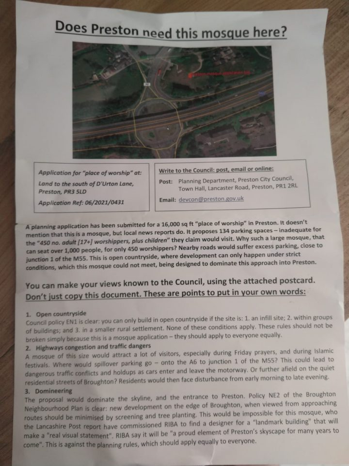 The anonymous leaflet posted through Preston residents' front doors opposing Broughton's new mosque.