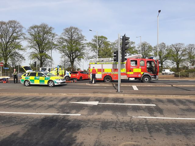 The crash has happened on London Road, near the Capitol Centre.