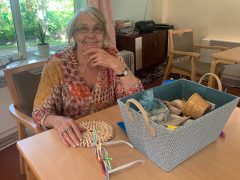 Age Concern Central Lancashire dementia service user with a memory box