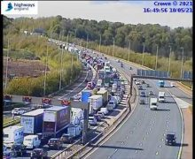 The M6 and M61 are backed up following the accident Pic: @HighwaysNWEST / Twitter