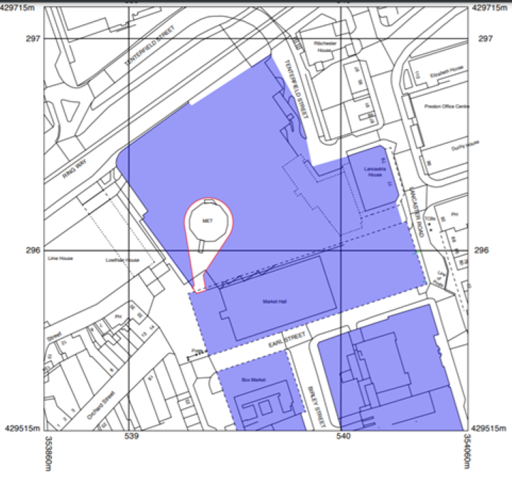 The location for the Pop Up tent in Preston City Centre.