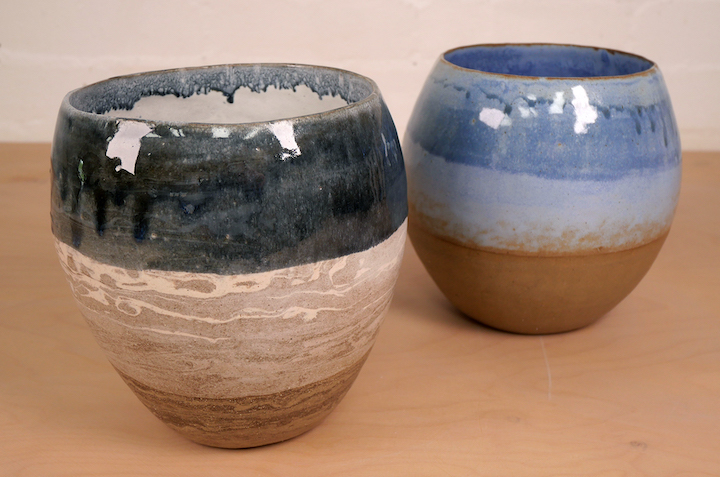 Coiled dip glazed pots made by Make North member Linda Walmsley