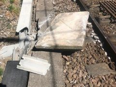 The coping stone damaged lineside cables Pic: British Transport Police