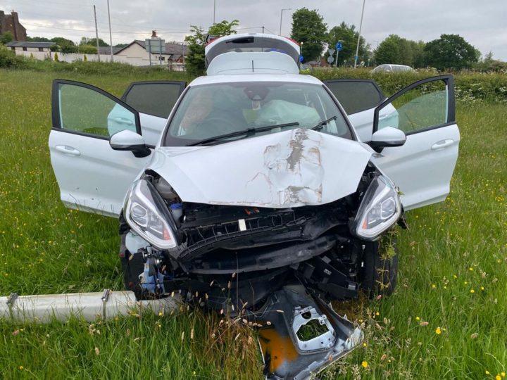 Crashed car Pic: Lancashire Police Dog Unit