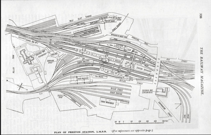 Map of Preston Station in The Railway magazine in 1923