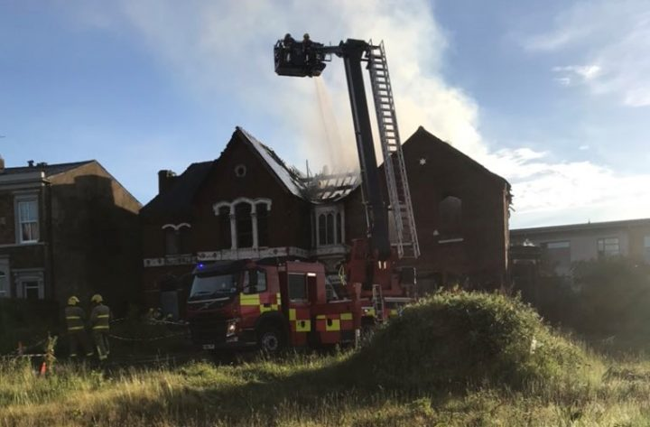 Blaze broken out at former Hindu temple site. Pic: Preston fire station