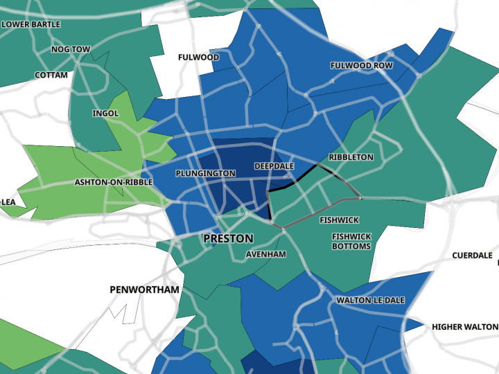 Map showing Preston and South Ribble Covid-19 cases in the seven days to 26 May 2021
