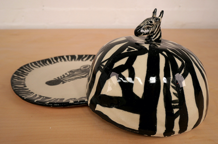 Zebra cheese dome made by Make North member Pauline Lowther
